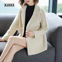 XJXKS manteau femme hiver Cachemira mezcla abrigo para mujer da vuelta-abajo 2018 nuevas mujeres abrigos de lana