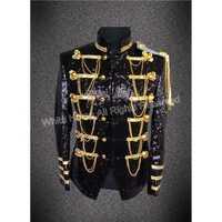 Chaqueta de escenario para hombre, cantante de club nocturno, chaqueta de bombardero, con lentejuelas doradas y negras, jakcet con cadenas y cinturón