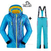 PELLIOT marca montaña esquí traje mujer traje de esquí de invierno snowboard trajes espesar impermeable chaqueta de esquí caliente + nieve pantalones XXL
