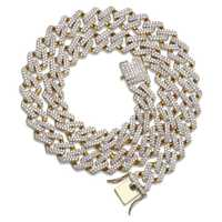14mm Miami Prong Set cubana cadenas Collar para hombres oro plata Color Hip Hop helado empedrado Bling CZ rapero collar joyería