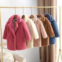 2019 enfants mouton Shearling Cardigan manteau enfants fille épais décontracté longue veste adolescente fausse fourrure chaud vêtements d'extérieur Q470