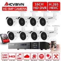16CH 5MP 5-en-1 grabadora de Video Digital + 16*5,0 MP AHD IR CCTV Camera + 16 * 60ft soporte de Cable para Kit de sistema de seguridad CCTV