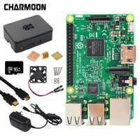 ¡Raspberry Pi 3 Modelo B, kit de 5V2! 5A fuente de alimentación con interruptor + 16G tarjeta SD + ABS + ventilador de refrigeración + disipador de calor + cable HDMI + 5MP Cámara