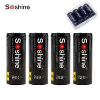 4 piezas Soshine 3,7 V 5500 mAh 26650 Li-Ion batería recargable con protección PCB + portátil caja de batería
