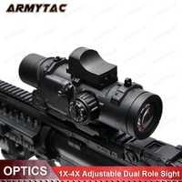 Riflescope táctico 1-4x Rifle alcance DR Quick desmontable 1X-4X ajustable doble función Vista Airsoft alcance Magnificate para la caza