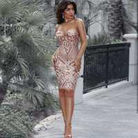 Venta al por mayor 2018 nuevo vestido de lentejuelas de oro sin tirantes de lujo de celebridad de ocio vestido de fiesta cóctel (L2266)