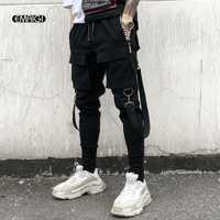 Hombres Multi-Bolsillo diseño de cintura elástica pantalones Harem calle Punk Hip Hop Pantalones Casual pantalón hombre bailando pantalón
