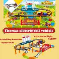 Thomas trenes de dos capas grandes carril coche DIY coche del juguete fashing rueda espiral Track Rail coche