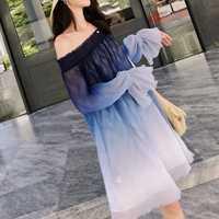 Sexy vestido azul degradado mujeres hombro suelto corto verano Beanch vestidos de fiesta