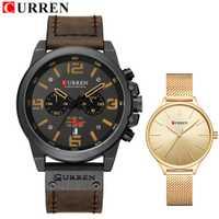 Deportes hombres reloj de los Amantes reloj de las mujeres señoras superior de la marca de lujo de par militar del ejército de CURREN hombres reloj de pulsera conjunto
