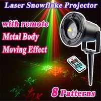 Decoraciones navideñas luces láser duchas copo de nieve proyector exterior impermeable doble Color 8 patrones con control remoto