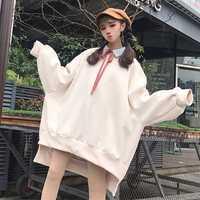 De gran tamaño las mujeres corazón sudadera coreana Harajuku espesar sudaderas con capucha de lana de Japón Kpop lindo manga larga suelta mujer Hip Hop
