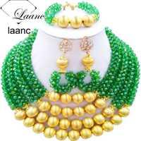 Marca laanc nupcial Africana Cuentas la joyería verde AB con la bola de oro Dubai joyería Sets al210
