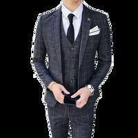 Juventud trajes para hombre gris azul marino moda Slim elegante vestido de los hombres Set tamaño 4XL masculino traje chaqueta + chaleco + pantalones