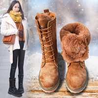 Botas de Invierno para mujer botas de nieve nuevo estilo 2018 de moda de fondo grueso de cuero genuino de las mujeres botas de felpa calientes zapatos de media pantorrilla femenina