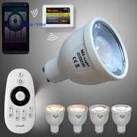 Mi. luz 4 zona RF control remoto inalámbrico + 4 unids 2.4g GU10 5 W CCT doble blanco bombilla led temperatura de color ajustable + adaptador wifi