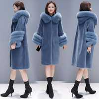 HANZANGL abrigo de lana de invierno de alta calidad 2018 abrigo de piel sintética para mujer abrigo de piel de zorro con capucha abrigo de Cachemira caliente talla grande S-3XL