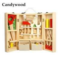 Candywood caja de herramientas de madera rompecabezas 3D servicio de caja de herramientas juguetes de simulación para bebés niños juguetes educativos caja de herramientas de regalo para niño