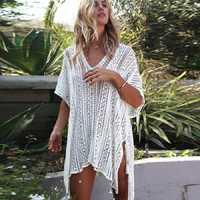 De las mujeres bañadores punto túnica de ganchillo cover up vestido Beach