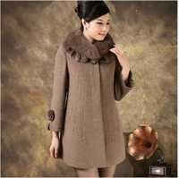 Envío Gratis invierno madre mujeres Cuello de piel Cachemira medio-largo abrigo de lana talla grande 5XL