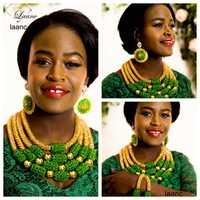 Marca laanc gran nigeriano de la boda Africana Cuentas joyería cristal verde y oro AB Dubai collar joyería al242