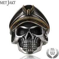 MetJakt Punk Army Cap anillo de oficial de calavera de la segunda guerra mundial sólido Real 925 anillo de plata de ley para hombres Vintage tailandés joyería de plata