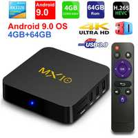 2019 nuevo MX10 Android TV BOX Android 9,0 RK3328 Quad core 4G RAM 64G ROM 3D 4 K HDR10 H.265 USB 3,0 reproductor multimedia IPTV Set-top BOX