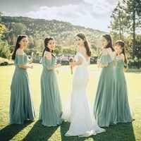 BATA de soriee elegante Salvia vestidos de dama de honor Vestido largo de gasa A-line Ruffle 2019 dama de honor para vestido de fiesta de boda