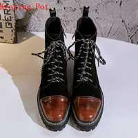 Krazing olla 2019 de cuero genuino med tacones punta redonda punk motocicleta botas mujeres superestrella fiesta gradiente de color tobillo botas L91