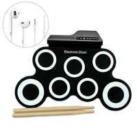 Tambor de mano de bebé de juguete instrumento Musical Roll Up tambor electrónico USB Digital Pad Kit instrumento de práctica Musical