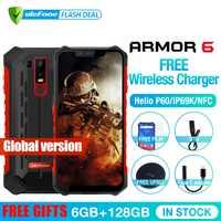 Ulefone armadura 6 impermeable IP68 NFC resistente teléfono móvil Helio P60 Otca-core Android 8,1 6 GB + 128 GB de carga inalámbrico versión Global