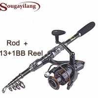 Sougayilang 1,8-3,0 m de carbono telescópica carpa pesca Rod conjuntos y 14BB cuchara de Metal carrete señuelo carrete de pesca pesca
