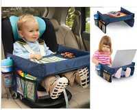 Nuevos niños coche organizador asiento de coche bandeja impermeable Junta almacenamiento juguete titular mesa escritorio bandeja cochecito infantil tablero mesa