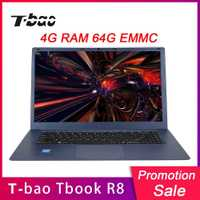 T-bao Tbook R8 portátiles de 15,6 pulgadas 4 GB DDR3 RAM 64 GB EMMC portátiles Notebook 1080 p FHD pantalla para Intel Cherry Trail X5-Z8350