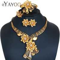 AYAYOO conjuntos de joyas de Mujer Africana perlas conjunto de joyas en oro de Color de la boda de la joyería India pendientes de lujo de Dubai conjuntos de joyas