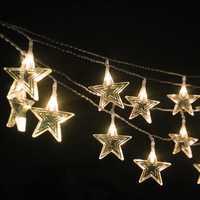 10M impermeable plástico estrella exterior iluminación adornos en cuerda para la ventana del dormitorio árbol de Navidad boda fiesta de cumpleaños H-10