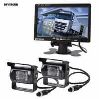 DIYSECUR 2 x 4pin visión nocturna CCD cámara de visión trasera Kit + DC 12 V-24 V 7 pulgadas monitor TFT LCD sistema de autobús flotante camión