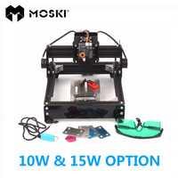 Moski, como 5 láser opciones, 15 W láser/10 W láser, grabado en metal, 15000 MW DIY máquina de marcado láser, madera router conexión USB