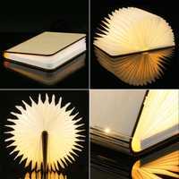 Llevó la noche la luz del libro plegado luz USB recargable imán de madera mesa cubierta escritorio techo decoración blanco/WarmWhite colorido
