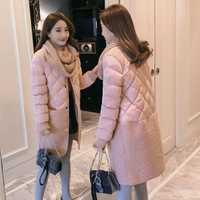2018 promoción abrigo de invierno de cintura ancha para mujer Venta caliente Parka larga moda estudiantes ropa femenina M-xl chaquetas gruesas