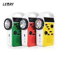 Leroy AM/FM Bluetooth solar manivela Dynamo al aire libre Radios con altavoz emergencia receptor alimentación móvil 3 LED linterna