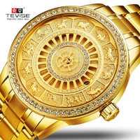 2019 nuevos signos del zodíaco del TEVISE reloj de pulsera mecánico automático reloj de edición limitada reloj masculino de oro saat erkekler