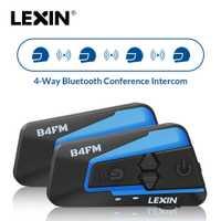 2 pièces Lexin 4 Façon Motobike, Moto casque bluetooth Casques Interphone, FM BT intercomunicador écouteurs MP3 interfone