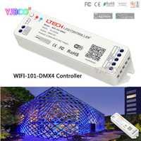 2,4g Wifi-101-DMX4 DC12-24V de entrada; DMX512 señal 512CH led de salida Wifi DMX512 controlador para tira led