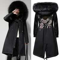 2018 nuevo de gran tamaño las mujeres XL-5XL Parkas abrigos de invierno cálido con capucha con cremallera chaquetas flocado ropa abrigos