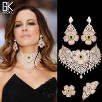 GODKI lujo Cubic Zircon nupcial joyería conjuntos para mujeres boda indio collar pendientes brazalete anillo parure bijoux Mujer