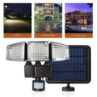 Al aire libre 188LED lámpara Solar de inducción humana Sensor de cuerpo lámpara de pared resistente al agua tres cabezas Split lámpara para paisaje de jardín de calle