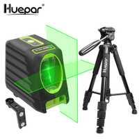 Huepar-nivelación láser verde de haz láser de líneas en cruz nivel 150 grados + Huepar Multi-función láser ajustable nivel de trípode