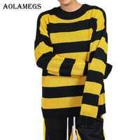 Aolamegs hombres suéter de rayas Color hombre jersey de la calle suéteres de punto de Moda hombre suéter otoño