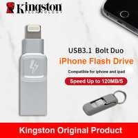 Kingston perno USB 3,0 Flash drive memoria Stick para Apple iPhone y iPad con iOS 9,0 pendrive mfi Certificado de metal la Cle de disco usb